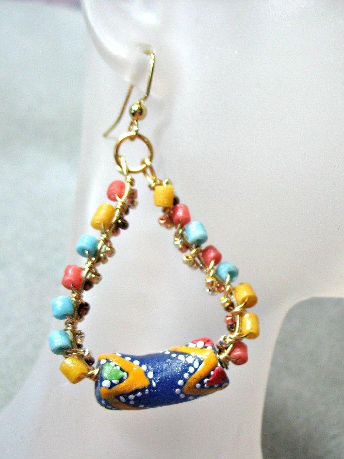 Ghana Africa Krobo Powder Glass Beads Gold Wire Wrapped Hoop ...