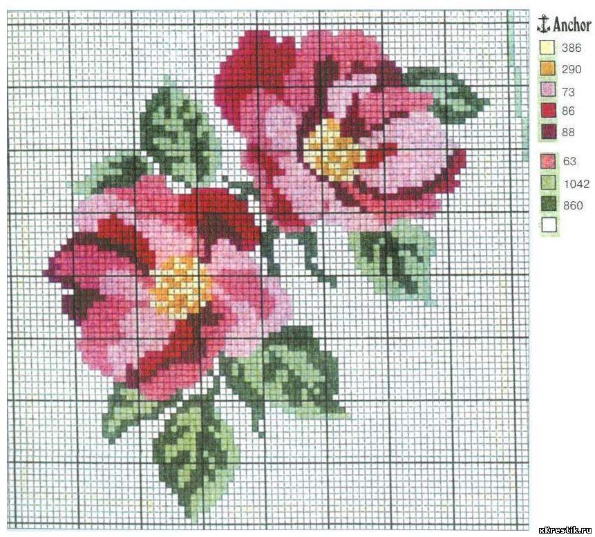 Хорошие схемы для вышивки цветы