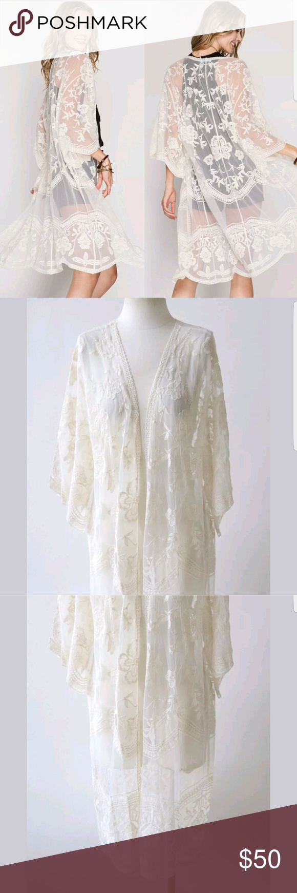 Cream lace kimono duster cardigan NWT | Lace kimono, Dusters and ...