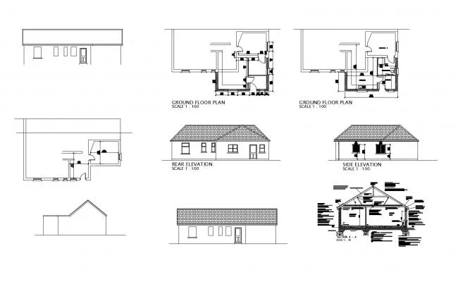 Ground Floor Plan Of House With Elevation And Section In Autocad Ground Floor Plan House Floor Plans Floor Plans