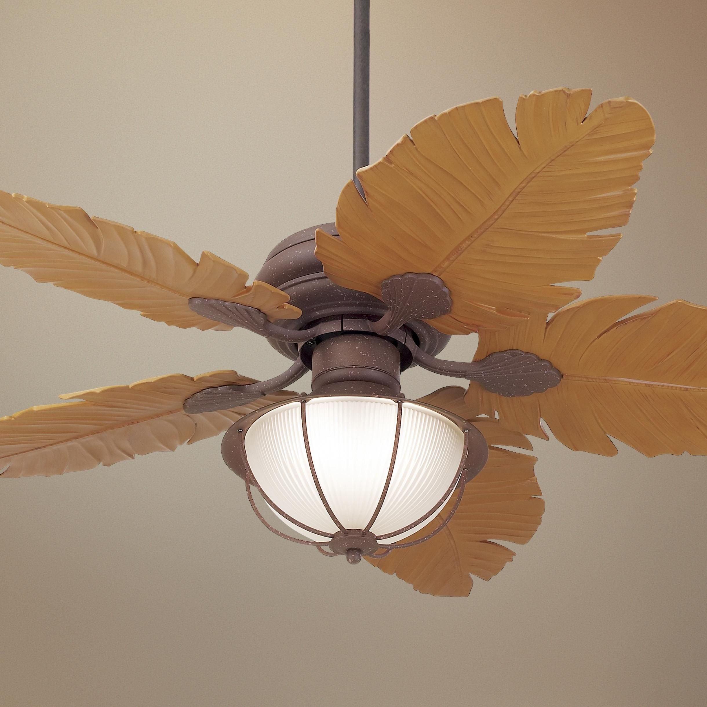 "Tropical Outdoor Ceiling Fan: 52"" Casa Vieja Tropical Leaf Ceiling Fan -"