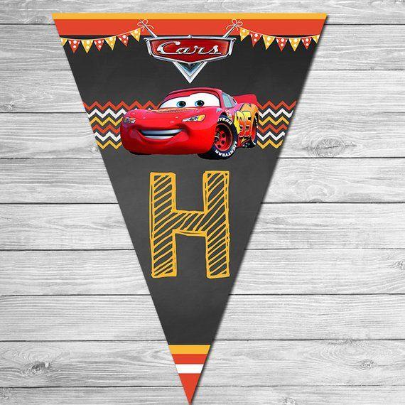 Disney Cars Birthday Banner Chalkboard Lightning Mcqueen Birthday