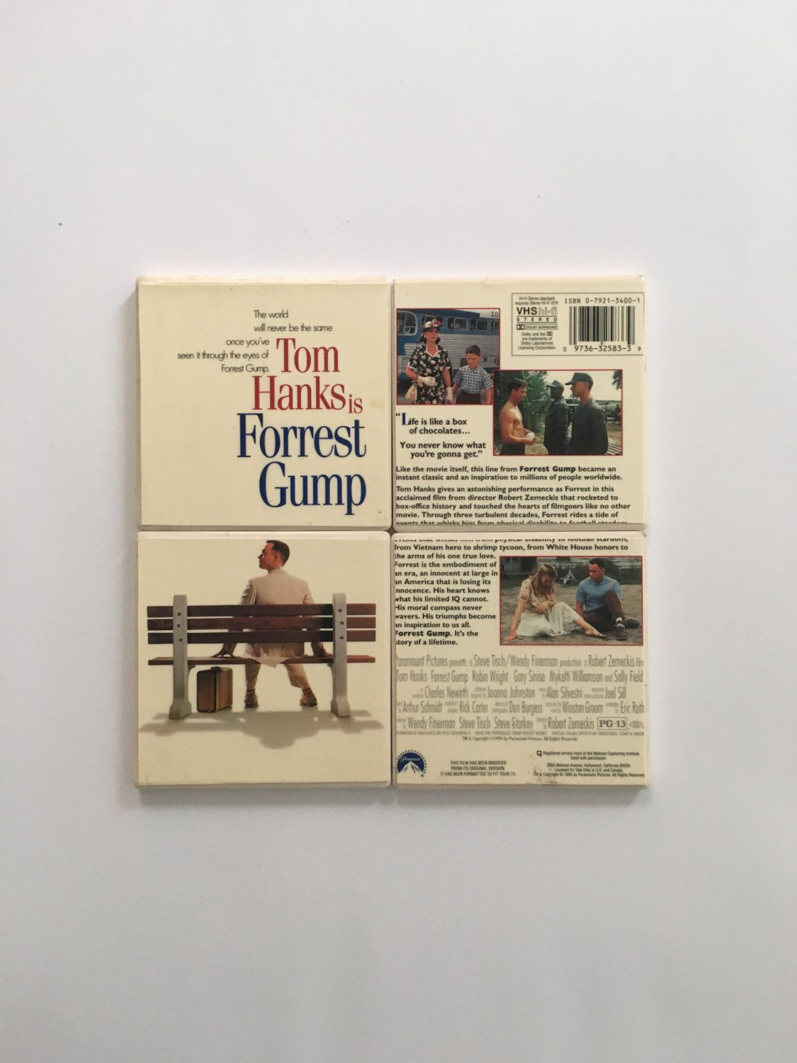 Forrest gump 1995 movie with actor tom hanks vintage vhs cover on a items similar to art coasters beautiful hand stamped cross ceramic coasters upcycled tiles christian art religious art cross coasters set of 4 on etsy dailygadgetfo Choice Image