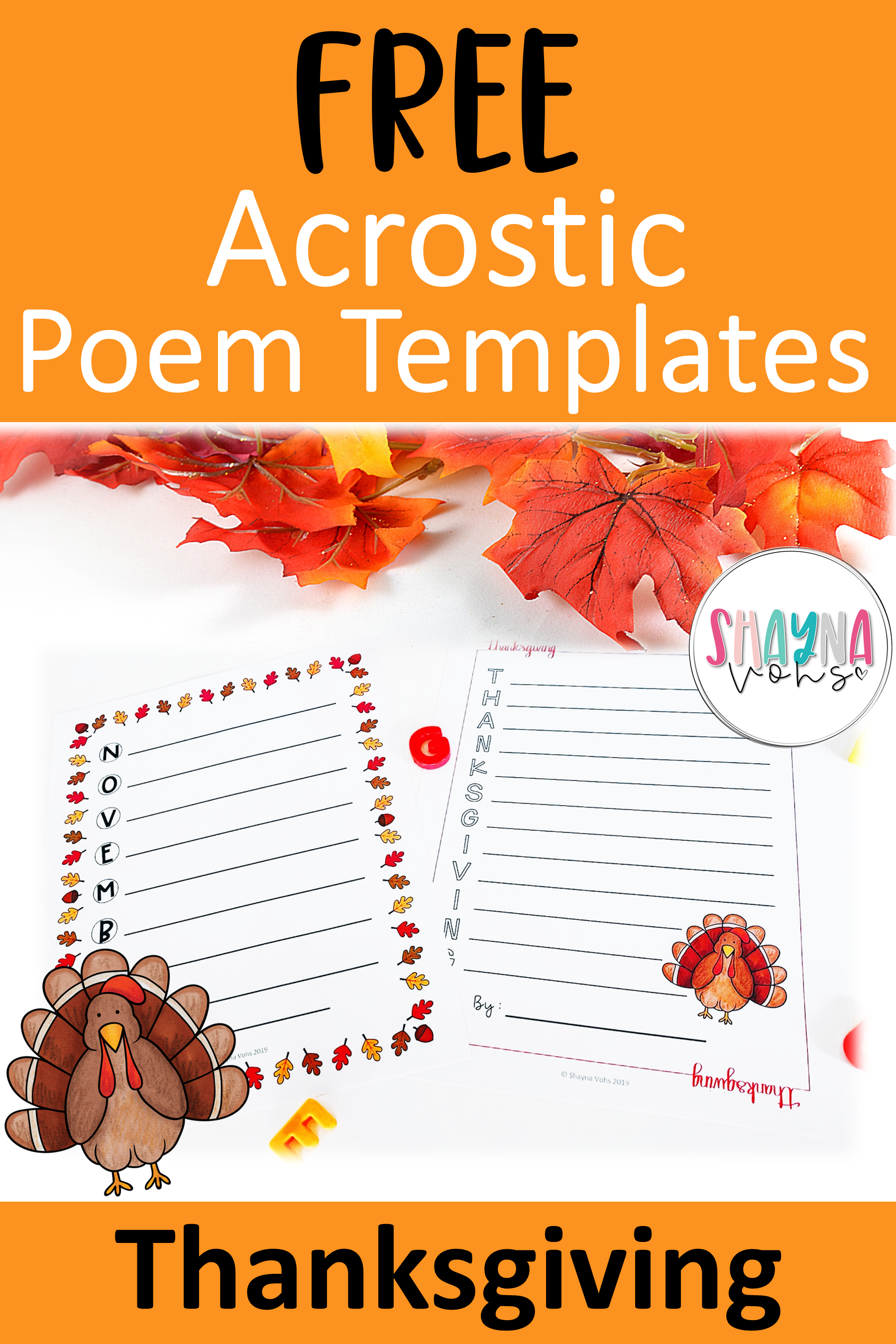 Free Thanksgiving Acrostic Poems
