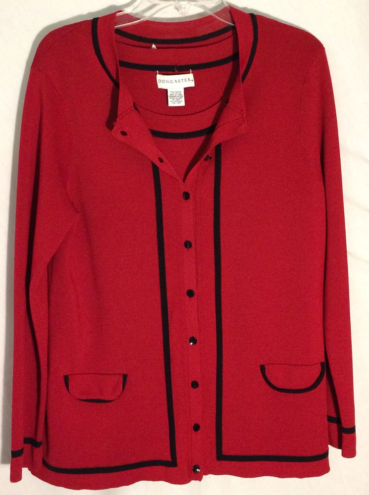 DONCASTER Red Rayon/Nylon Twinset - Black Trim-Buttons - Cardigan-0W - Top-1X #Doncaster #Twinset #red #black #sweater #plus #cardigan #top