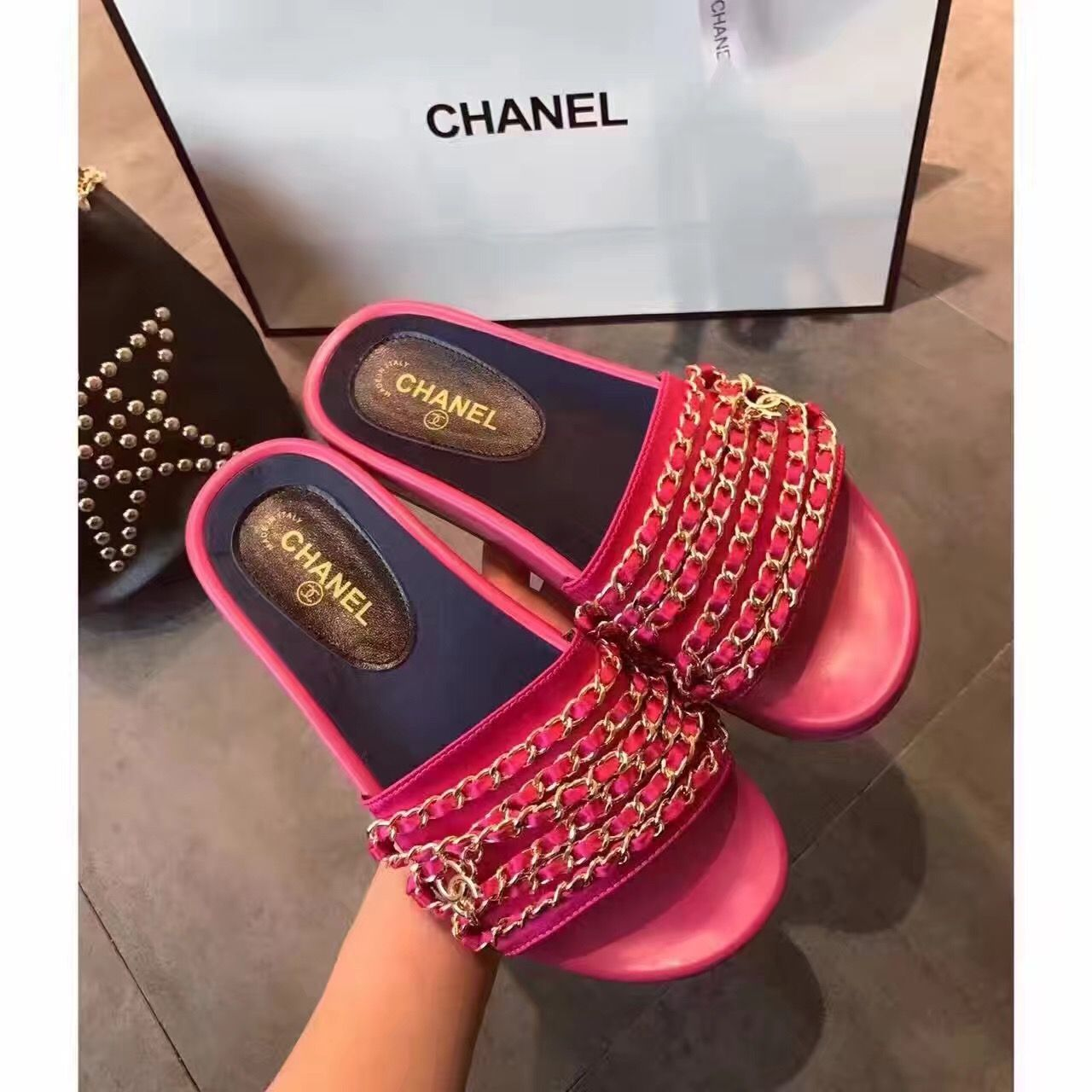 chanel slides. chanel woman slippers chain design slides f