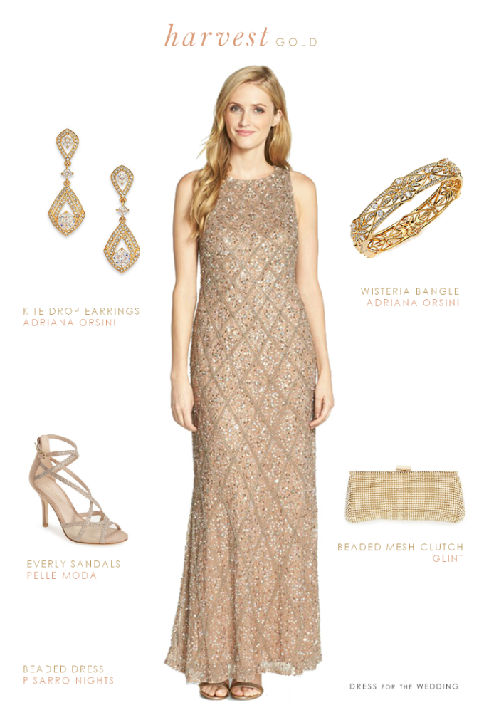 ed287dd2ef Mother-of-the-Bride wedding outfit - Golden beaded gown and accessories