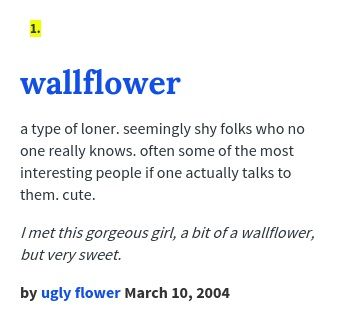Wallflower Names With Meaning Urban Dictionary Find Your Name
