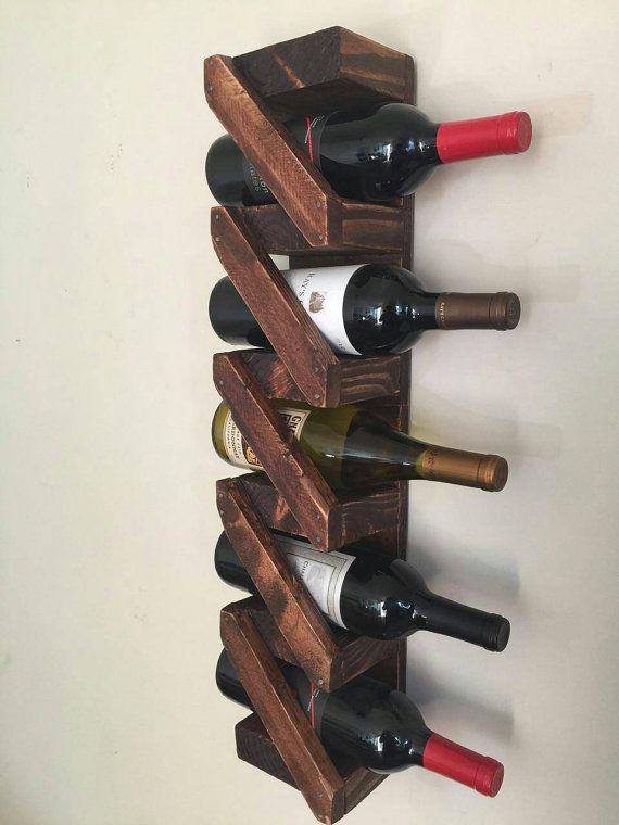 Botellero madera r stico decoraci n hecha a mano casera - Estanterias para botellas ...