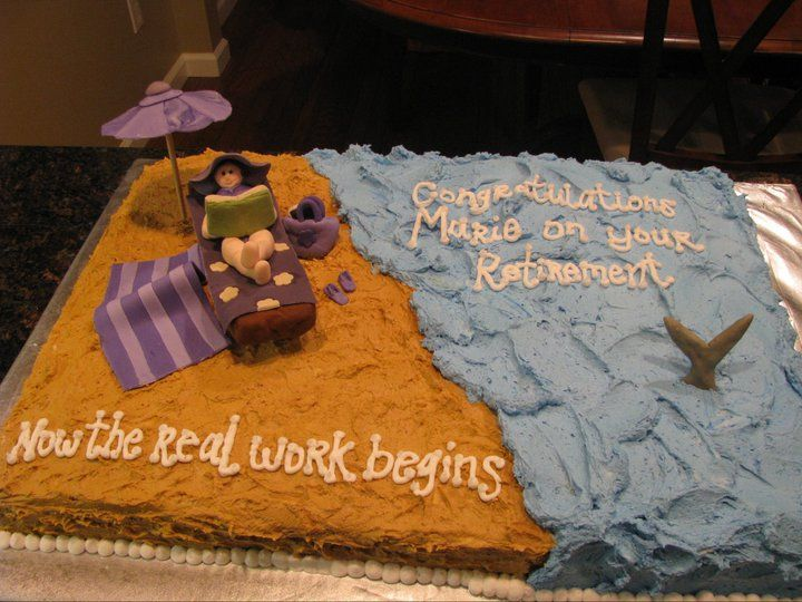Fun Beach Themed Retirement Cake Miscellaneous Cakes ...