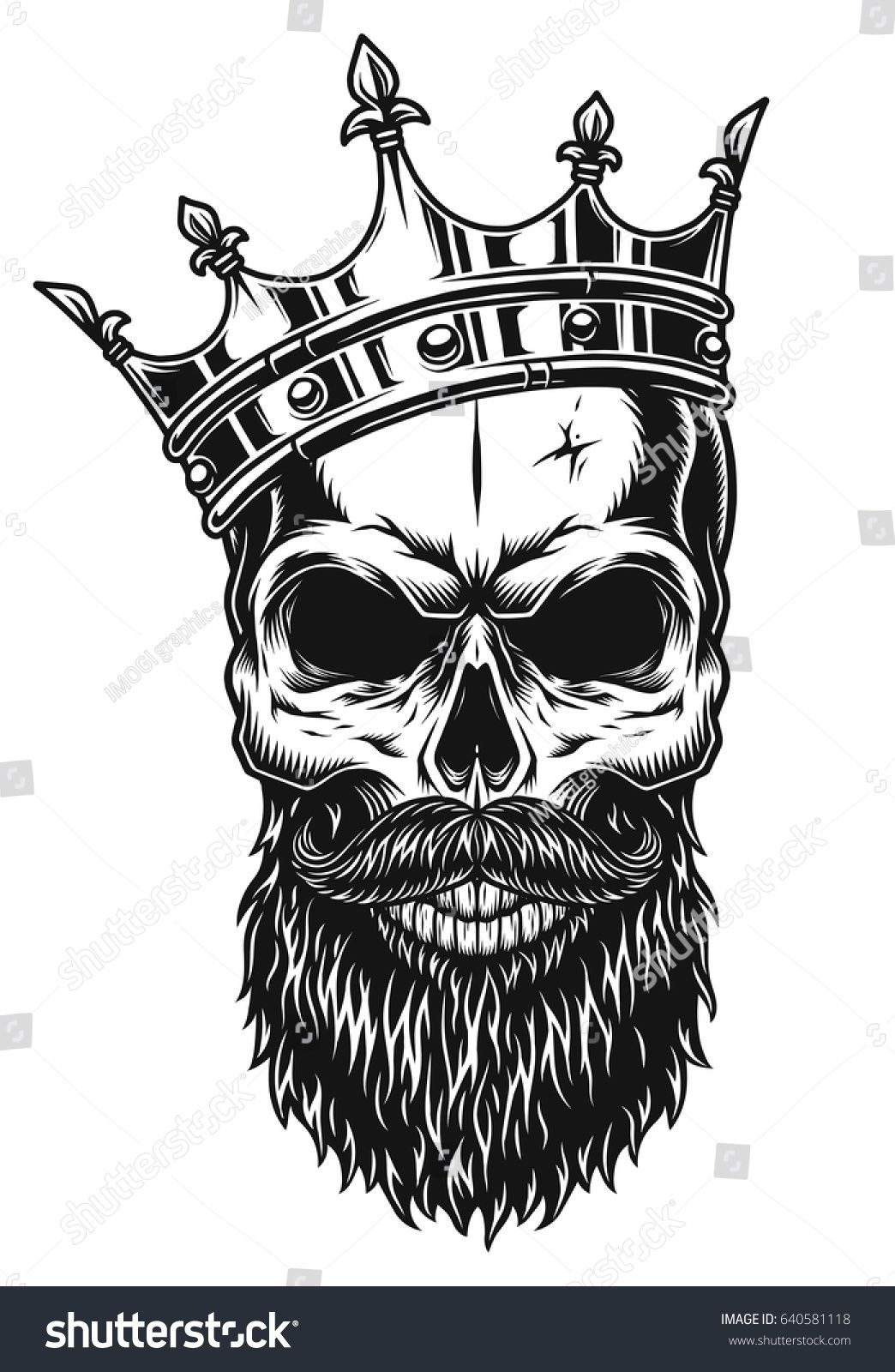 Illustration of black and white skull in crown with beard isolated ...