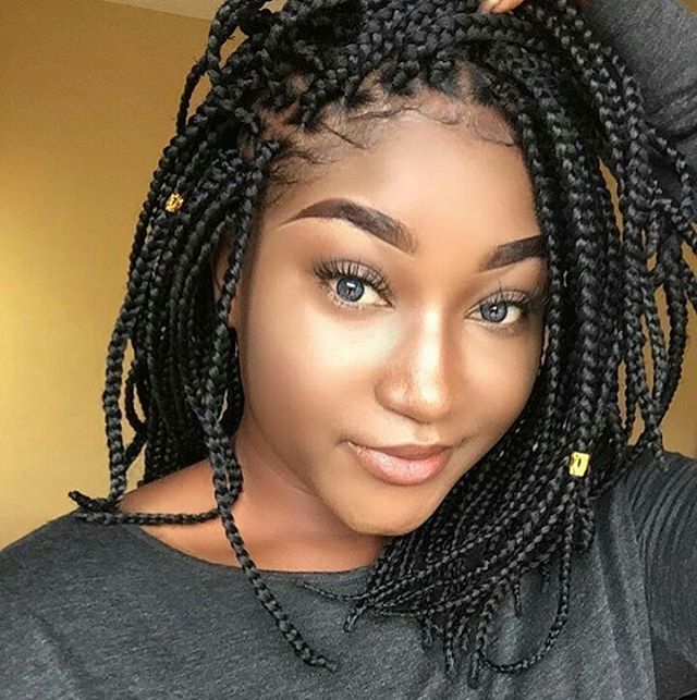 Nigerian Box Braids In Bob Hairstyle Bob Braids Hairstyles Hair Styles Small Box Braids Hairstyles