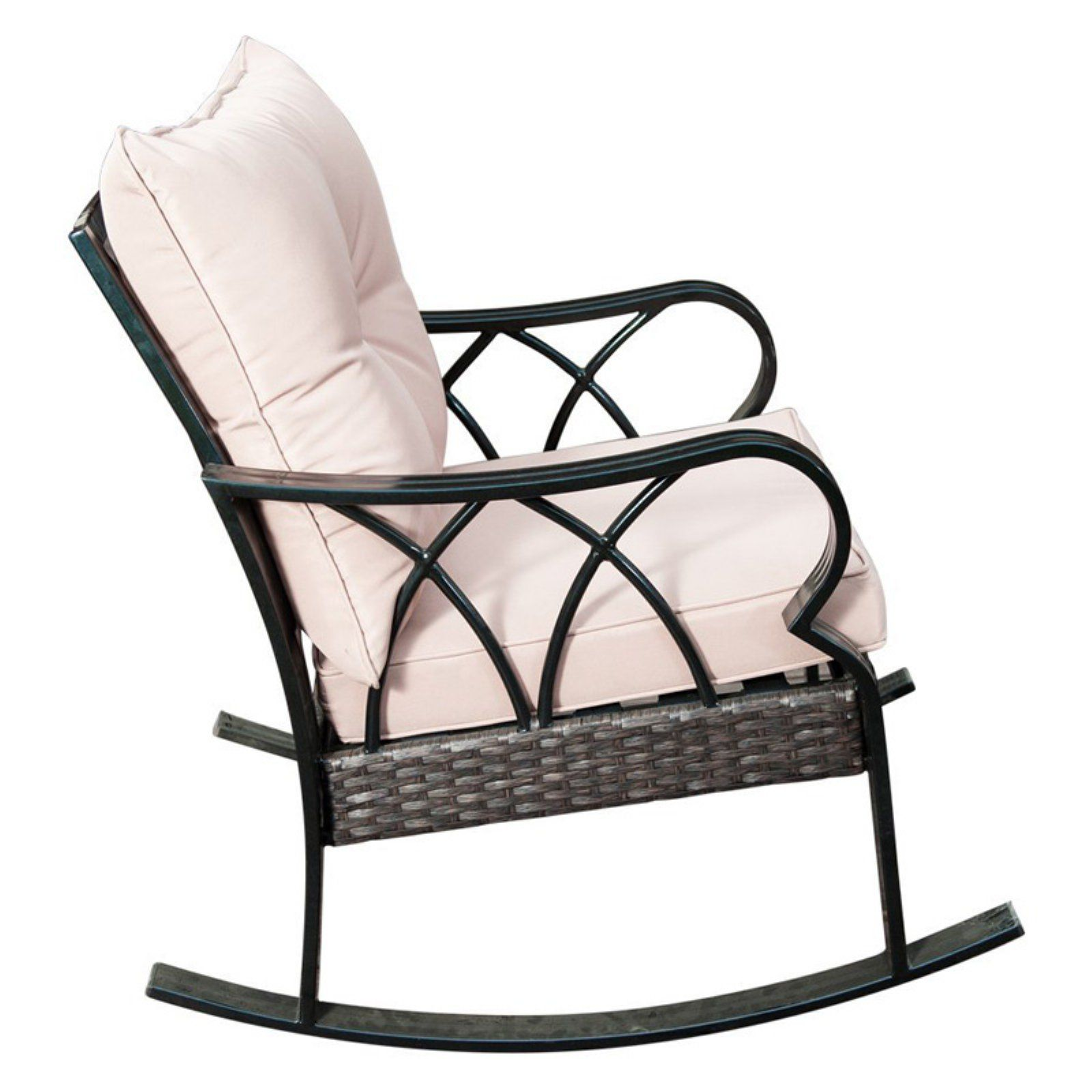 Patio Rocker Chairs Outdoor Sunlife Garden Cafe Wicker Patio Rocking Chair With