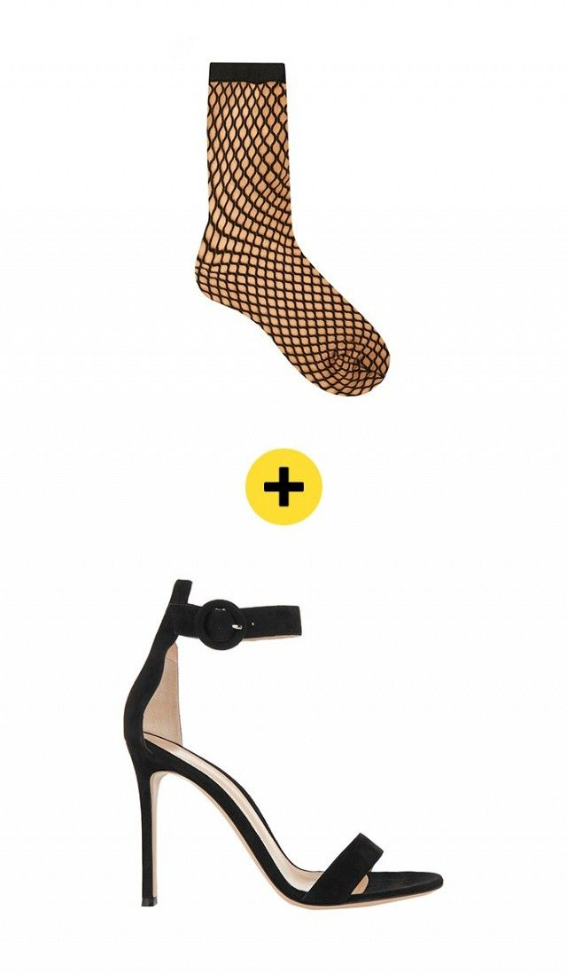47013b846 Wolford Sibylle Fishnet Socks + Gianvito Rossi Suede Sandals in Black
