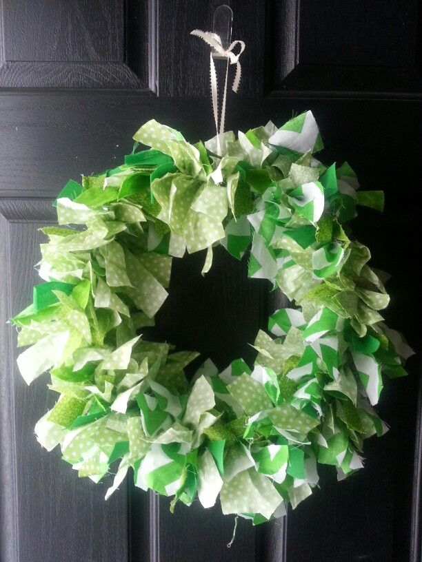 Shades of green rag wreath made with a large embroidery hoop.
