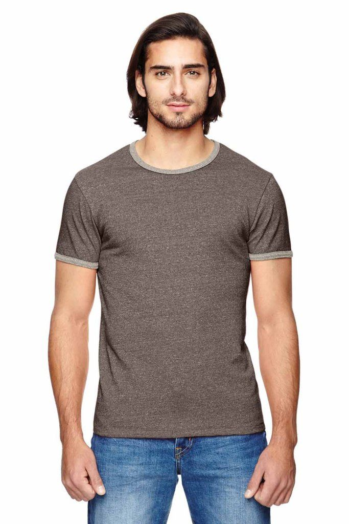 Alternative Mens Eco Mock Twist Ringer Blend Crewneck Short Sleeve T-Shirt 01957E