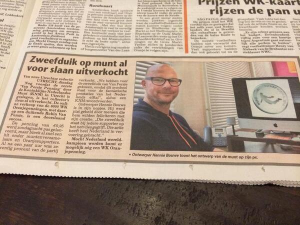 Hennie Bouwe in de krant over de WK oranjepenning.