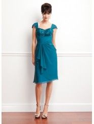 Chiffon and Lace Knee-Length A-line Cap Sleeves Beaded Lace Sweetheart Mother of The Bride Dress