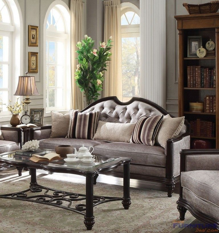 Acme Furniture Azis Gray Fabric Sofa 53770 Furniture Acme Furniture Grey Fabric Sofa