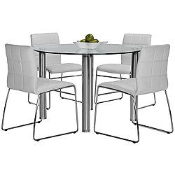 Napoli White Round Table 4 Chairs Glass Round Dining Table Round Dining Room Table