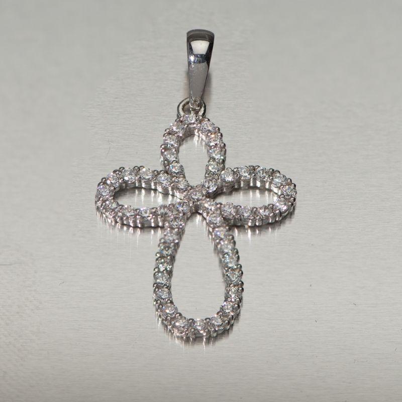 Λευκόχρυσος σταυρός Κ.14 για κορίτσι ή γυναικείος με λευκές πέτρες ζιργκόν  Swarovski. 0b807c1d128
