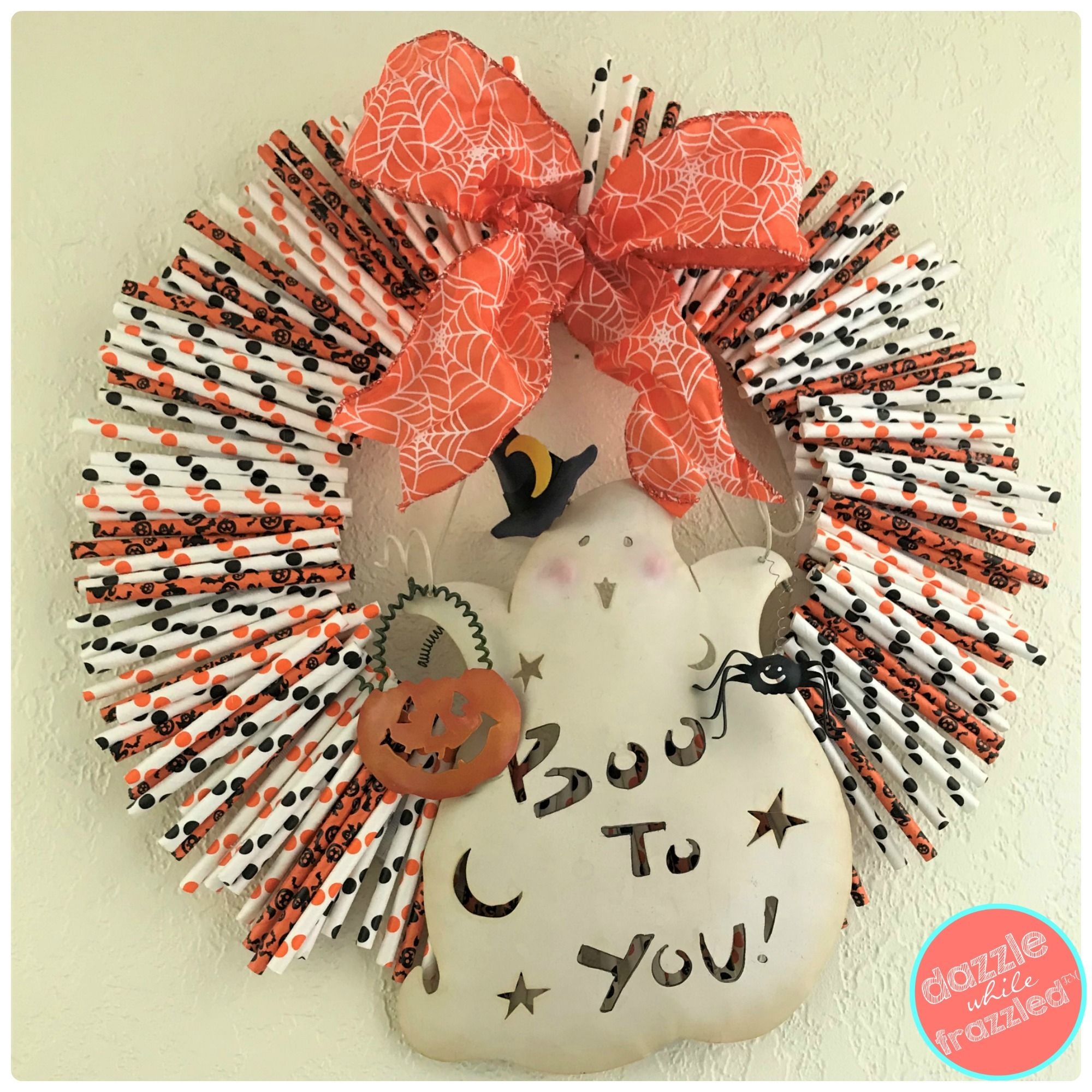 How To Make Spooky Cute Halloween Paper Straw Wreath
