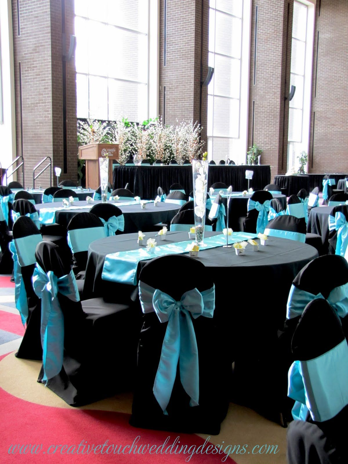 Aqua Black White Wedding Table Dream Wedding Pinterest Wedding