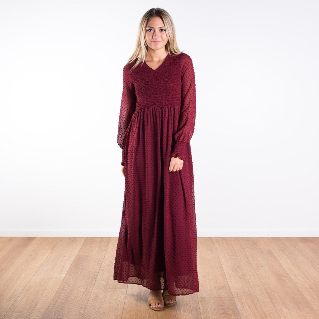 Halifax Smocked Swiss Dot Maxi Maxi Dress Long Sleeve Dress Maxi [ 1024 x 1024 Pixel ]