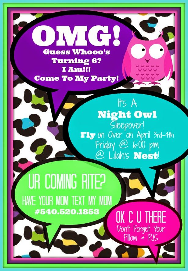 Night Owl Party Invitations Tween Ideas Text Message Birthday Sleepover Invitation