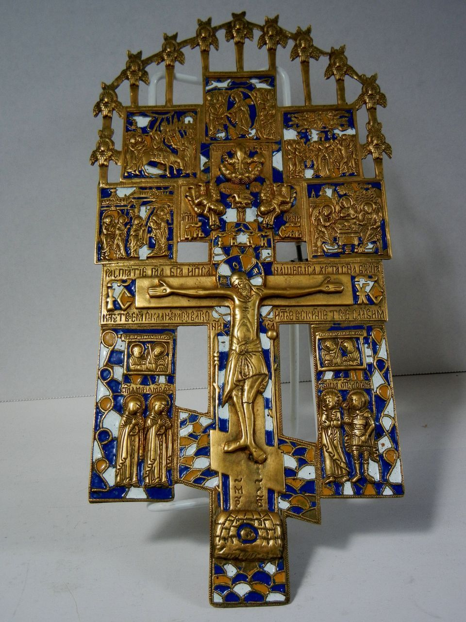 Antique Russian Gilt Bronze and Enamel Icon 18th or 19th century