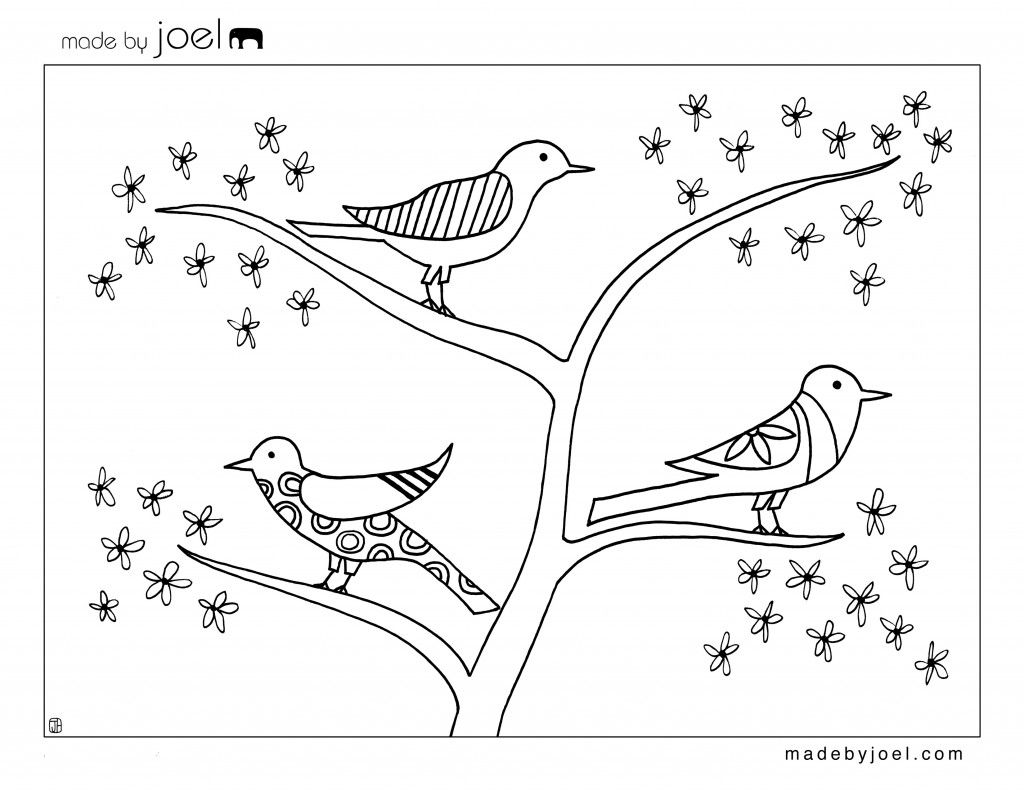 spring birds and flowers coloring pages | Made by Joel » Giveaway ...