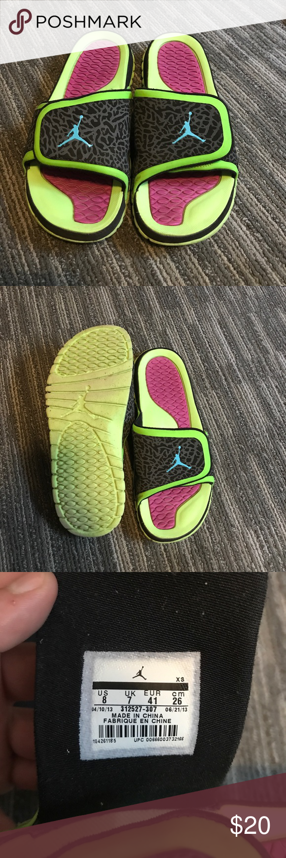 5830ad958be69a Jordan Slide-on Sandals Jordan Slides. Like new. Only worn a few times.  Size 8 in men s so fits a size 9 in woman s. Asking  20 or best offer! Air  Jordan ...