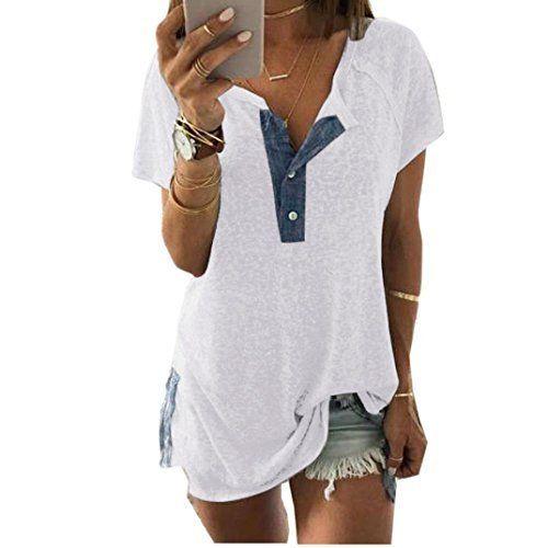 8a4ff2ba624 Short Sleeve Loose Casual Button Blouse T Shirt Tank Tops  petite  dress   babe