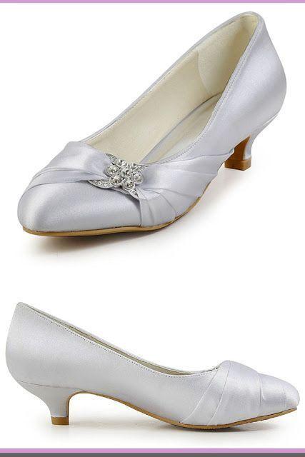 0a88151daf9 ElegantPark Women Closed Toe Comfort Heel Rhinestone Satin Wedding Bridal  Shoes Wedding shoes low heel  WeddingShoes  WomensFashion  wedding