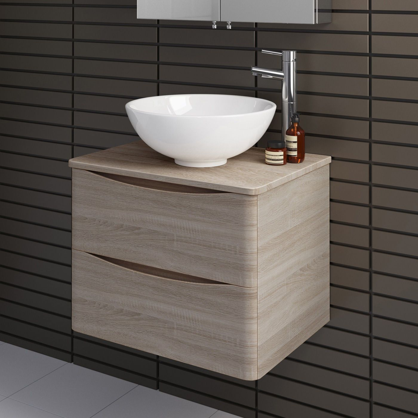Phenomenal Modern Oak Effect Wall Hung Bathroom Vanity Unit With Download Free Architecture Designs Scobabritishbridgeorg