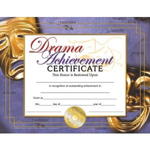 Drama Achievement Certificate 30 Pack Downloadable Templates
