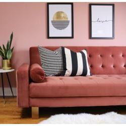 Corella 3 seater velvet sofa bed, dark pink Cult Furniture  – Products