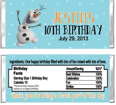 Frozen Birthday Party Hershey Candy Wrappers Favors  Custom Personalized