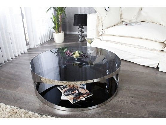 Table Basse Ronde En Verre Noir Et Acier Trance 80 Cm Coffee Table Table Furniture