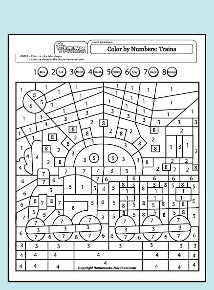 Color By Number Train Station Con Imagenes Colorear Por