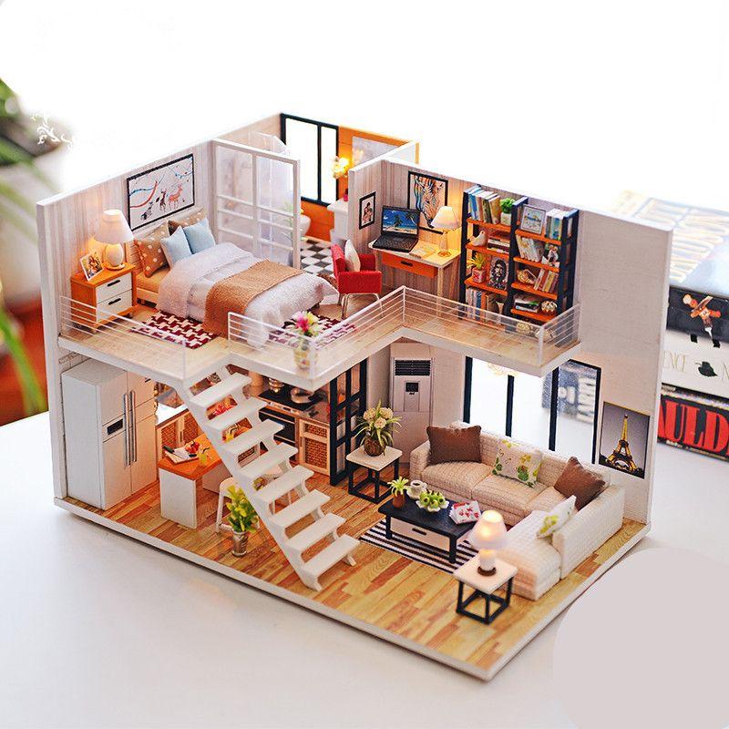 Doll House Miniature DIY Kit Dolls Toy House W// Cafe House LED Light Box Gift US