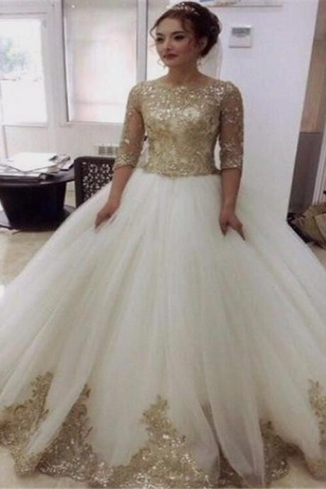 Luxurious Gold Lace Appliques half Sleeves Ball Gown Tulle Wedding ...