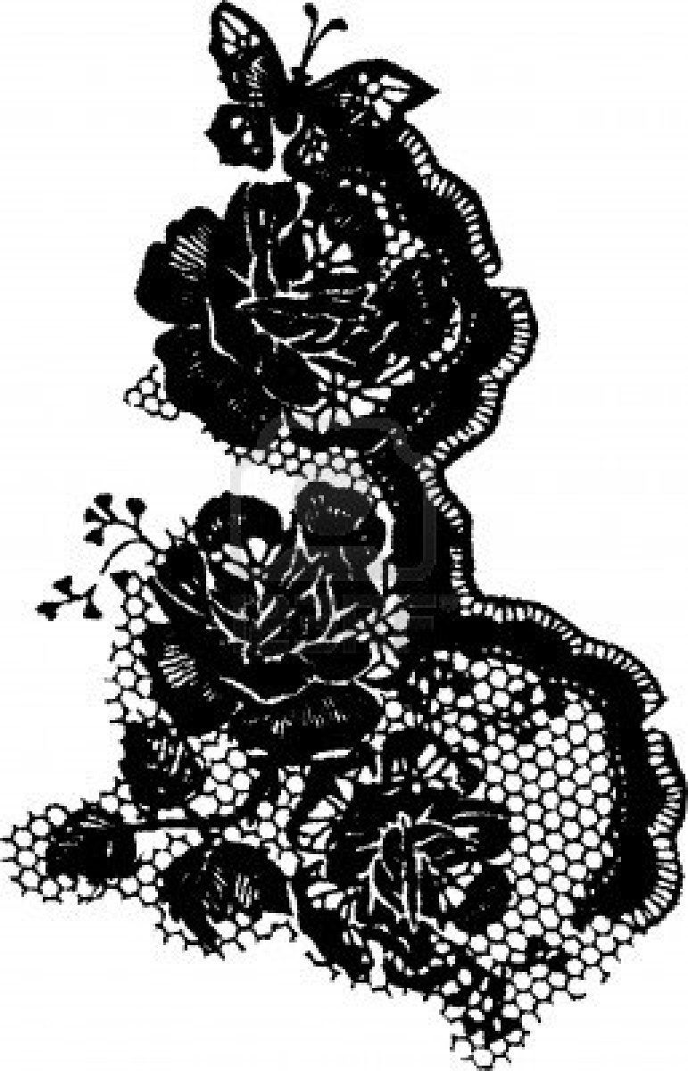 elegant rose and butterfly lace pattern.  Tatto pattern