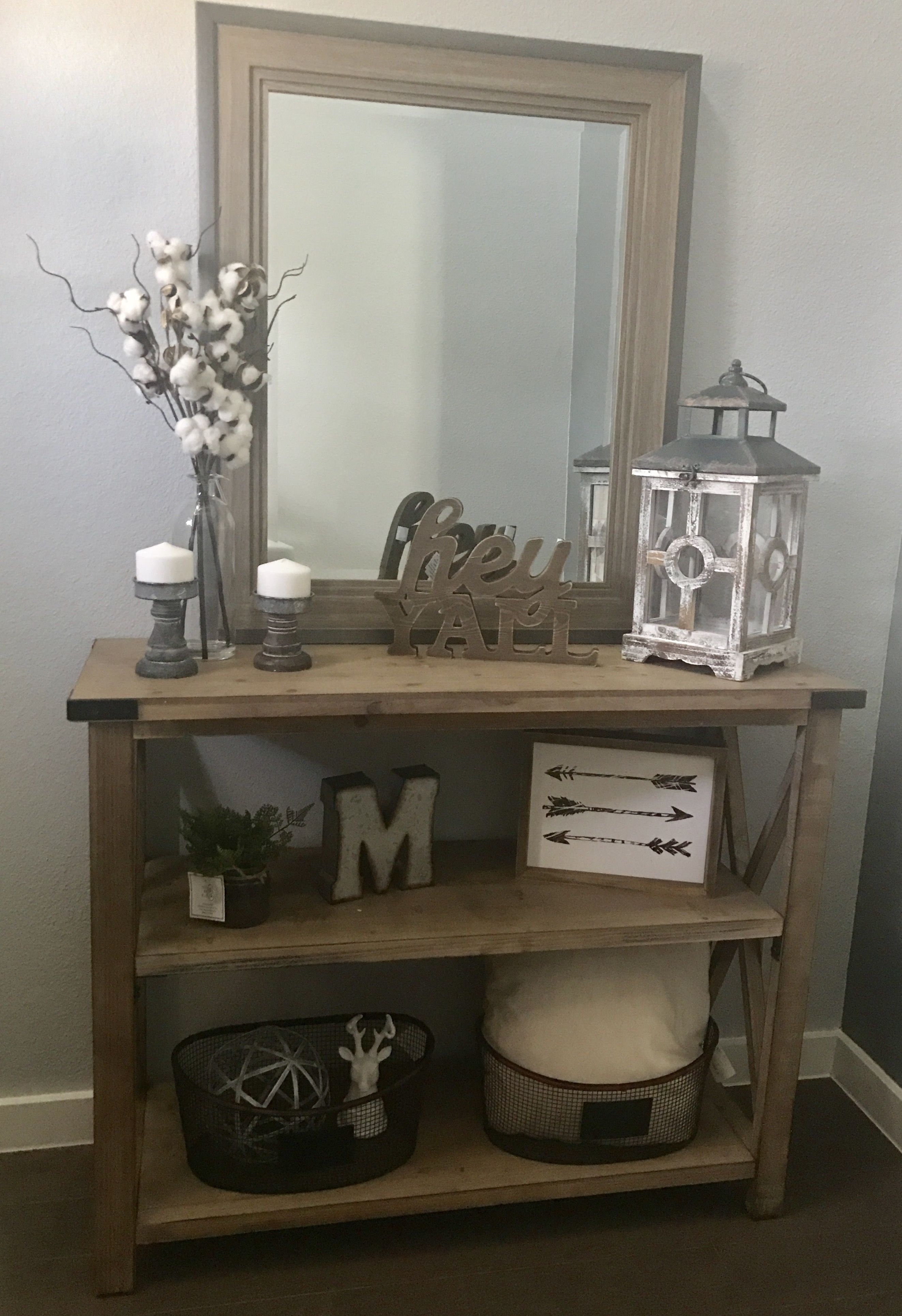 decorating a sofa console table american made sleepers new modern farmhouse entry way decor mcmillen home