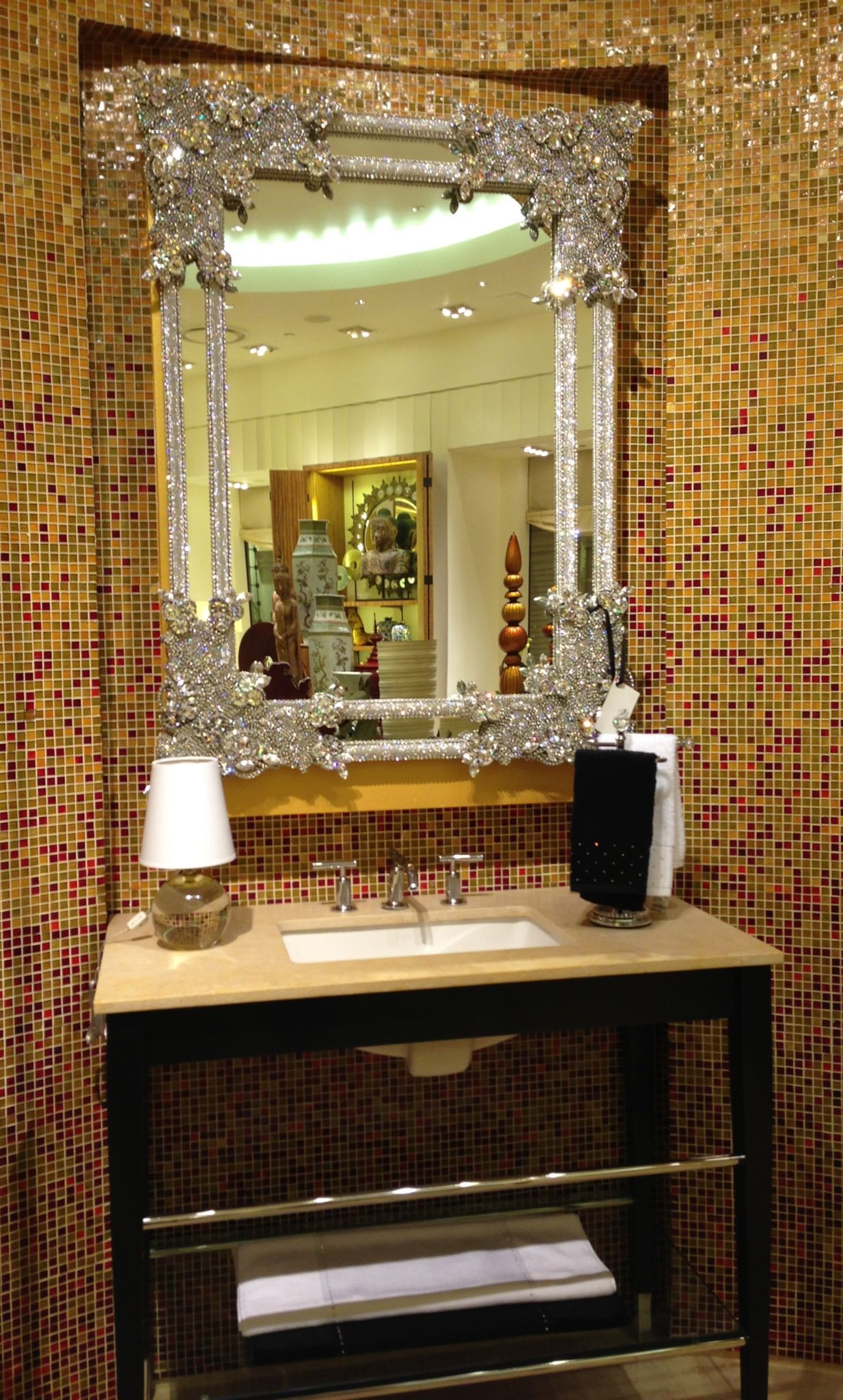 love this swarovski crystal mirror displayed at the encore home store las - Home Decor Stores Las Vegas