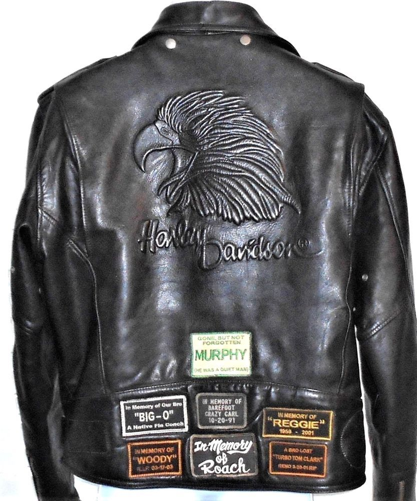 Harley Davidson Vintage Leather Embossed Eagle Motorcycle Jacket Korea 42 Reg Harleydavidson Harley Davidson Vintage Leather Harley [ 1000 x 833 Pixel ]