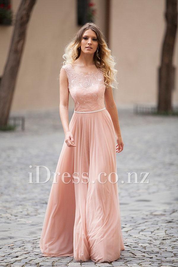pink chiffon dress for prom