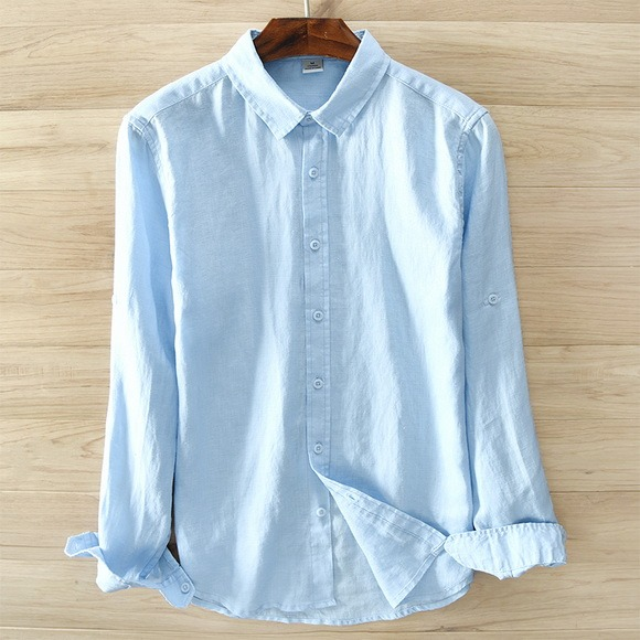 Pure Linen Long Sleeved Shirt Linen Shirt Men Mens Tops Casual White Shirt Men