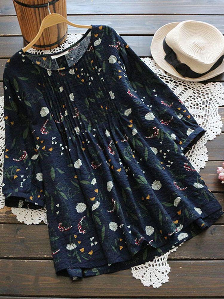 8acc51e0351e Gracila Women Floral Print O-neck Three Quarter Sleeve Blouse ...