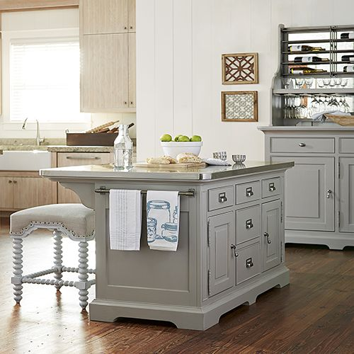 32 Off The Dogwood Grey Kitchen Island By Paula Deen Stainless Steel Wrapped Metal Top Fi Kitchen Island Furniture Grey Kitchen Island Distressed Kitchen